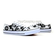Cute Panda Series Couple Matching Low Top Hand Painted Canvas Sh, New Arrival Hand Drawing Shoes, Cosplay Hand Drawing Shoes