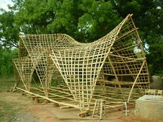 Bamboo roof structure prototype at Auroville Bamboo Research Center roof May 2013 – Vijay Nambiar Bamboo Roof, Bamboo Art, Bamboo Crafts, Bamboo Trellis, Bamboo Structure, Roof Structure, Tiki Bars, Bamboo Architecture, Amazing Architecture