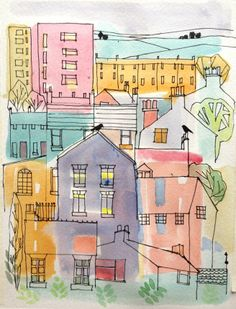 Original Water Colour and Pen  painting  'Urban 15' Signed