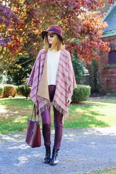Fall layering in a plaid cape Leather Chelsea Boots, Skinny Pants, Plaid Scarf, Fall Outfits, Your Style, Leather Pants, Kimono Top, Nordstrom, Street Style