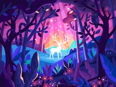 Magic Deer in a forest by Andrii Bezvershenko Art And Illustration, Fantasy Kunst, Fantasy Art, Animal Drawings, Art Drawings, Posca Art, Clipart, Cute Art, Art Inspo