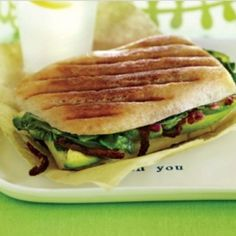 Avocado-spinach panini www.vegetariantimes.com
