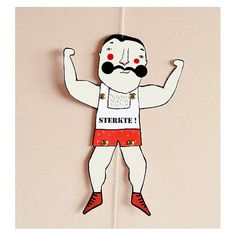 DIY Muscle Man Paper Doll - DIY postcard - paper puppet - strong man - moustache - power greeting card - circus postcard