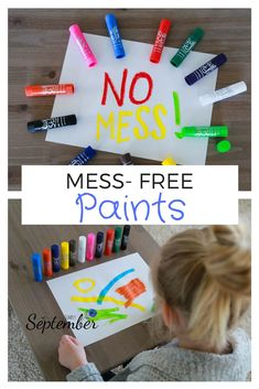 "Sick of saying ""no"" every time your child asks to paint because you don't want to deal with the mess? What if you could paint WITHOUT the mess? Toddler Art, Toddler Crafts, Crafts For Kids, Preschooler Crafts, Kids Diy, Summer Crafts, Summer Fun, Quiet Time Activities, Toddler Activities"