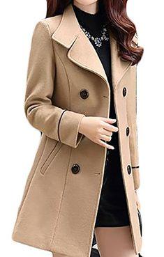 c90a709fdbc New Joe Wenko JWK Women s Double-Breasted Slim Solid Wool-Blend Winter Pea  Coats