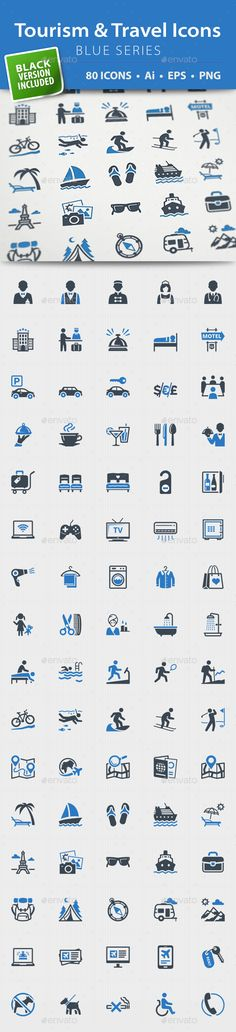 Tourism & Travel Icons - Blue Series #design Download: http://graphicriver.net/item/tourism-travel-icons-blue-series/13199212?ref=ksioks