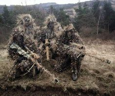 Spec ops Ghillie suits used for ultimate camouflage. The only choice for long range (snipers) in the field.