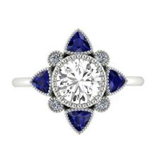 Wedding and Engagement Diamond Ring, Anniversary Rings, Compass Of Love, Natural High Quality White Sapphire Diamonds and Blue Sapphires by BridalRings on Etsy https://www.etsy.com/listing/246625368/wedding-and-engagement-diamond-ring