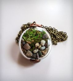 Woodland Moss Terrarium Orb Necklace #wearabledesign #plants #designtrend