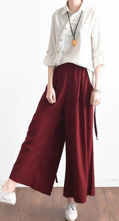 red stylish linen pants oversize elastic waist crop pants