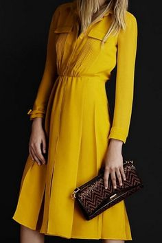 2012 New Burberry Long Sleeve Dress Yellow Outlet