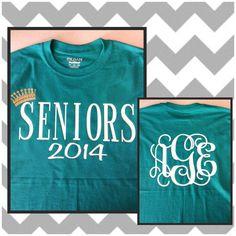 Senior T-Shirt Monogrammed Crown Glitter Vinyl Shirts, Tee Shirts, Senior Tshirts, Vinyl Monogram, Class Of 2016, Senior Year, Only Fashion, Graphic Tees, Moda Femenina