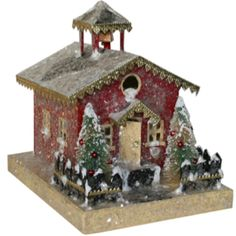 Snowy Putz Lighthouse Here's a peek at two putz houses just added to our website . We make our putz houses entirely by hand from scra. Christmas Village Houses, Christmas Town, Putz Houses, Christmas Villages, All Things Christmas, Christmas Crafts, Christmas Decorations, Holiday Decor, Christmas Glitter