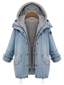 46ed2ec930 Hooded Drawstring Boyfriend Trends Jean Swish Pockets Two Piece Coat  -SheIn(Sheinside)-Shop Hooded Drawstring Boyfriend Trends Jean Swish  Pockets Two Piece ...