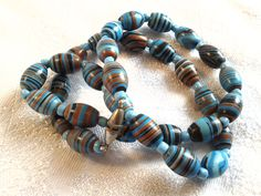 Vintage Art Deco Glass Bead Necklace, Turquoise, Agate Style. by GothiqueGirl on Etsy