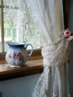 Frugal DIY Decor Tip...Use the fabric flower tutorial of choice,(smaller flowers work best) then Hot Glue flowers to Old Curtain Ties (or fabric scraps of choice) for the Loveliest & Easiest Curtain Tie & Decor Update