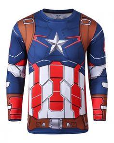 Captain America costume t shirt for men Avengers: Age of Ultron long sleeve shirts- Captain America Costume, Themed Outfits, T Shirt Costumes, Super Hero Costumes, Workout Shirts, Workout Clothing, Gym Wear, Sports Shirts, Long Sleeve Shirts