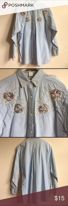 "denim shirt vintage 90s denim button down shirt. length: 29"" NOT URBAN BRAND similar item Urban Outfitters Tops"