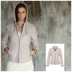 NANCY FAUX LEATHER HOODED JACKET SAND COLOR