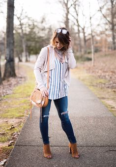 spring stripes, stripe camisole, stripe tank, bb dakota suede jacket, brown booties, distressed jeans, baublebar statement necklace, edgy fashion, spring fashion, spring outfit, spring outfit inspo, orange and blue striped tank, brown purse, spring. spring OOTD