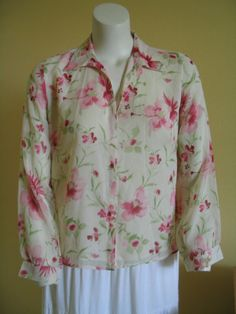 LAURA ASHLEY Size 14 Sheer Blouse Top 100% Silk Cream Floral Lined Long Sleeves #LauraAshley #Blouse #Versatile
