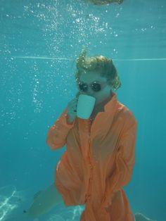 Alison Goldfrapp having a cuppa underwater