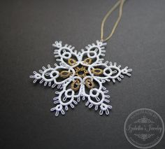 Hand tatted Christmas Snowflake XX by IzabelkasJewelry on Etsy