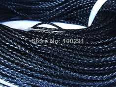 Free ship!!! High quality natural 3mm black braided geunine leather cord 50yards/roll MN-1699 $72.22