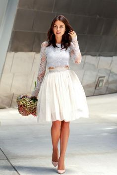 20 ways to Style Spring Pieces Now: Midi Skirts - full tulle midi skirt worn with a lone sleeve lace crop top + nude heels