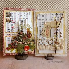 Noel cards by Riikka Kovasin as a GDT to C'est Magnifique Mixed Media Kit