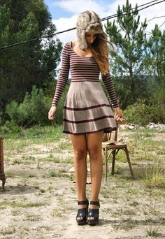 Cute dress for fall, but I think it would be way to cold. So maybe tights, boots and a jacket?