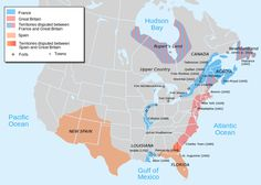 A map depicting European occupation of North America at the start of Queen Anne's War, as the North American theater of the War of the Spanish Succession is known. Areas that are solid color are intended to represent approximate areas of occupation, and do not represent claimed lands, which were generally much larger. Areas with conflicting claims are depicted with color gradation. Many of these land claims also intersect lands claimed by Native Americans, which are not shown.