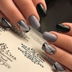 Natural Acrylic Black Almond & Square Nail Designs for Short Nails - Be . - Natural Acrylic Black Almond & Square Nail Designs for Short Nails – Be … – - Square Nail Designs, Black Nail Designs, Short Nail Designs, Nail Art Designs, Nails Design, Toe Designs, Salon Design, Grey Nail Art, Gray Nails