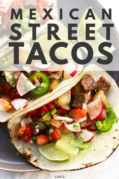 32 minutes · Serves 4 · Authentic Mexican Street Tacos! Simple yet tasty cubed steak, sweet crispy onions, zesty radish pico and all the toppings, tucked into warm delicious little tortillas. #streettacos #easydinner #recipe… More