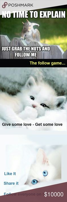"""Follow Game Spread the love - get some new followers! Just """"like"""" this post, follow the poshers on the list, and share it to you feed.  Have a Posh day! Other"""