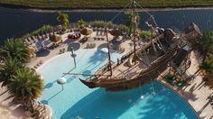Pool side pirate ship at Lake Buena Vista Resort and Spa Lake Buena Vista Resort, Pond Landscaping, Lake Houses, Retreat Ideas, Backyard, Patio, Cool Pools, Planter Boxes, Ponds