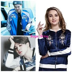 MansiCollections Embroidered Bomber Jacket for Women Jimin, Bts, Embroidered Bomber Jacket, Min Suga, Jackets For Women, Kpop, India, Amazon, Link