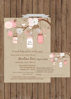 so cute!  Rustic Girl Baby Shower Invitation and Diaper Raffle Set-(www.partybeautiful.etsy.com)