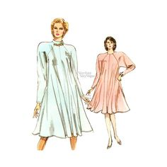 "When the temperatures drop and you want to be comfortable and warm, yet stylish, check out this easy sewing Vogue tent dress pattern! ""Loose-fitting, flared dress, below mid-knee, has shoulder pads, b"