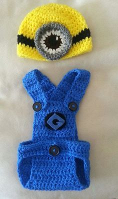 Despicable Me Minion Crochet Hat and Diaper Cover/ Overalls #crochet #pattern #knitting