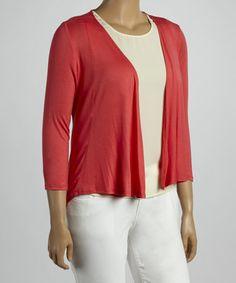 Look at this #zulilyfind! Coral Three-Quarter Sleeve Open Cardigan - Plus #zulilyfinds
