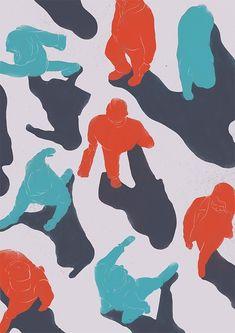 Seoul people camouflage pattern illust