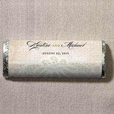 Personalized Vintage Lace Wrapper Gourmet Milk Chocolate Bars for Wedding Guests