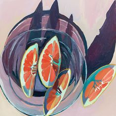 Grapefruit in a bowl. Painting Inspiration, Art Inspo, Illustration Art, Illustrations, Pretty Art, Painting & Drawing, Gouache Painting, Oeuvre D'art, Art Reference