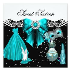 Masked Teal Blue Sweet Sixteen Sweet 16 Party 5.25x5.25 Square Paper Invitation Card