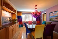 Cozy Interior Room Design Ideas With Purple Walls 35 Bright Dining Rooms, Dining Room Colors, Dining Room Design, Dining Room Furniture, Dining Room Table, Room Chairs, Dining Area, Dining Chairs, Wood Table