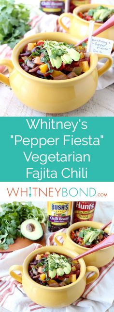 Fajita veggies, chili beans and fire roasted tomatoes create the most delicious vegetarian chili recipe, made in under 30 minutes! #vegetarian #meatlessmonday #recipe #cooking