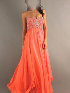 A-line Beaded Strapless Orange Formal Dress/ Prom Dress Cocktail Dress Dave & Johnny 7608