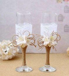 Copas de boda: fotos ideas - Copas de boda decoradas con encaje y flores