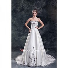 Noble A-line Sweetheart Embroidery Satin Wedding Dress